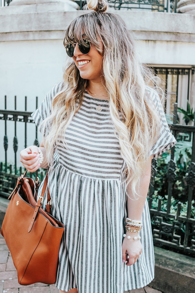 Easy gray striped dress for summer-16