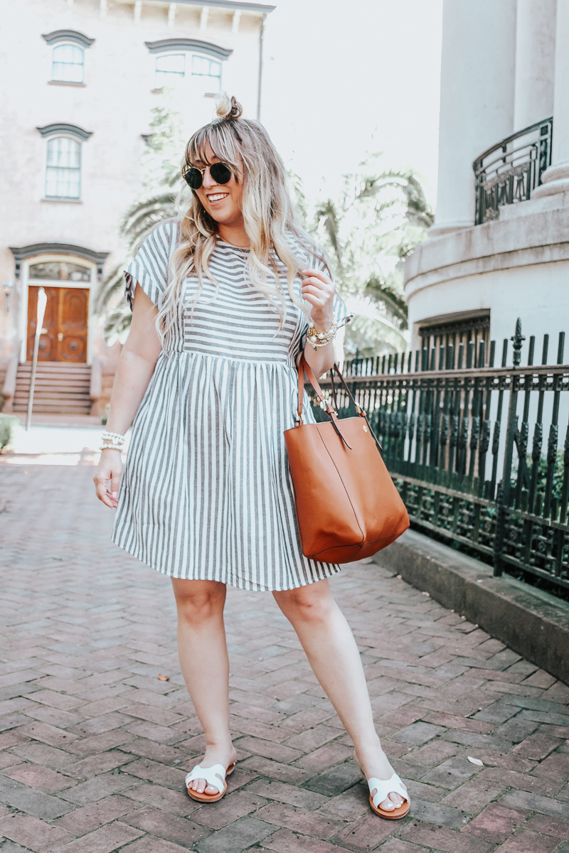 Easy gray striped dress for summer-3