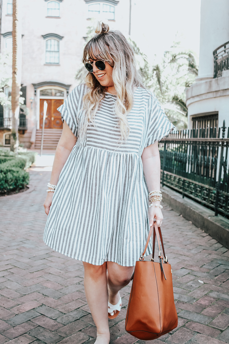 Easy gray striped dress for summer-5