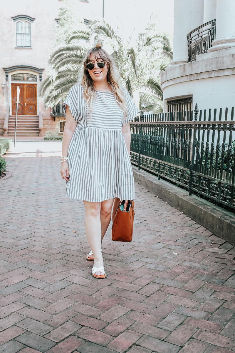 Easy gray striped dress for summer-9
