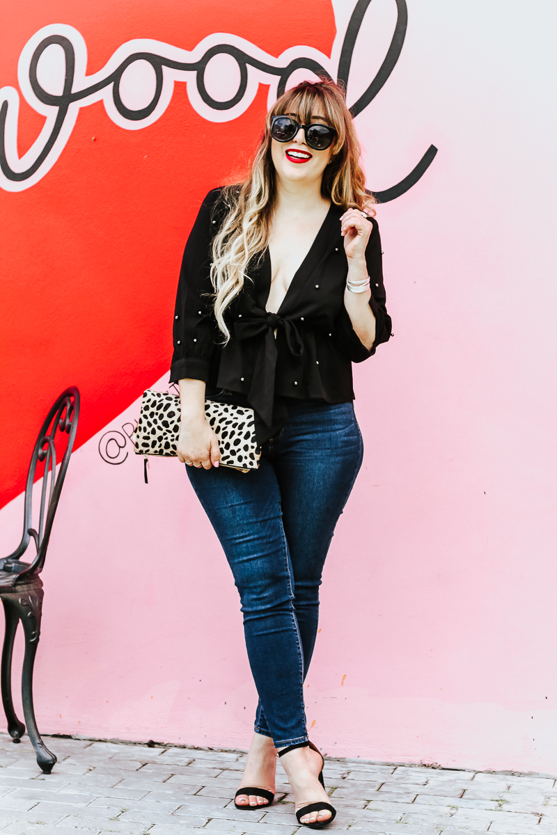 Shein black beaded top and jeans outfit_-10