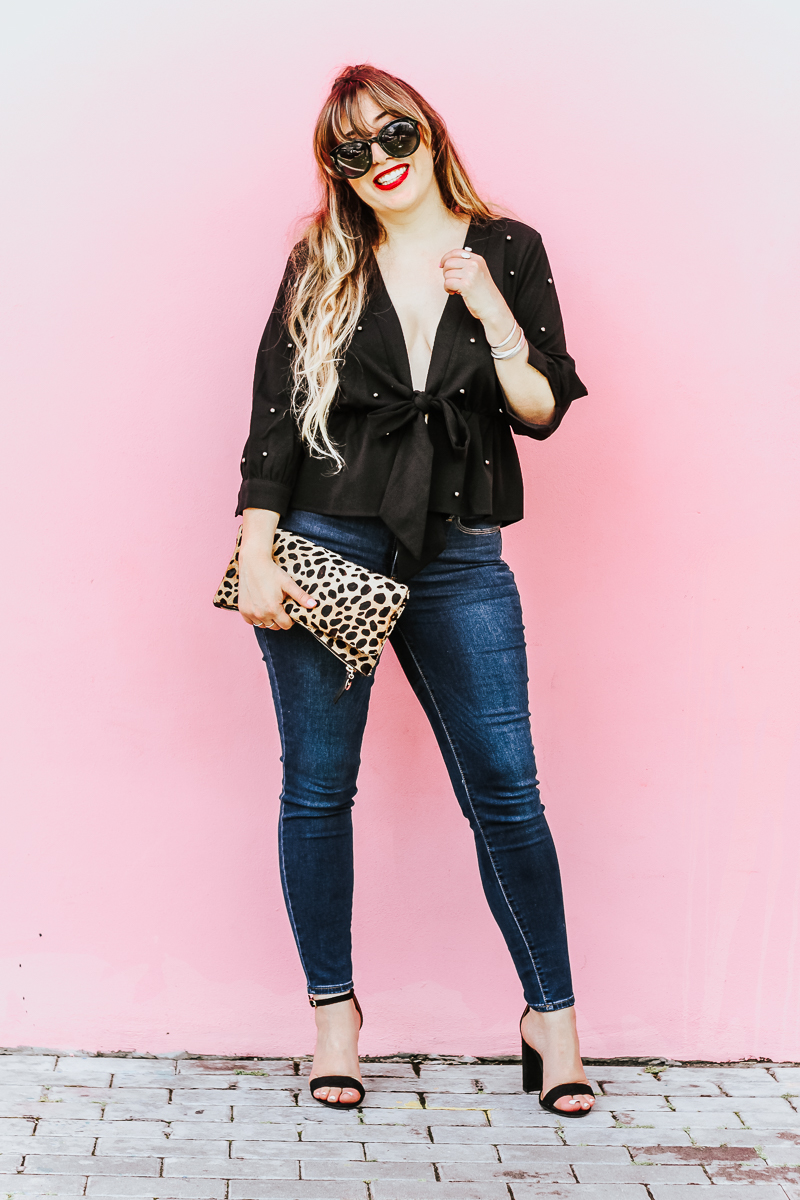 Shein black beaded top and jeans outfit_-5