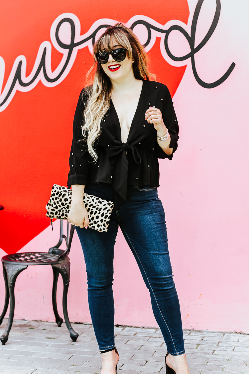 Shein black beaded top and jeans outfit_-9