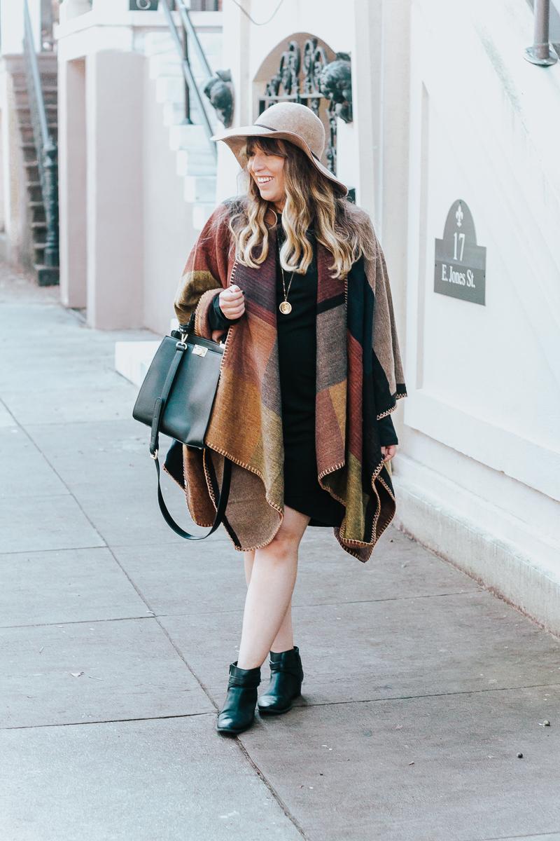 Fall outfit idea – plaid poncho + bodycon dress-3