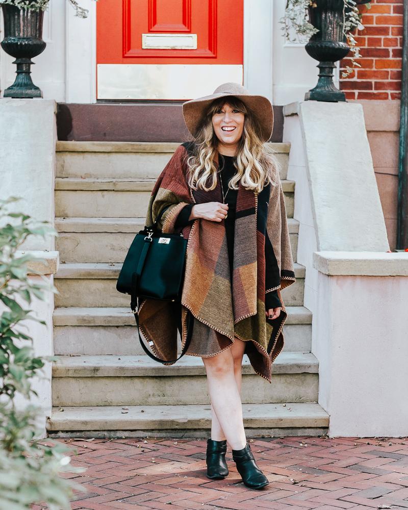 Fall outfit idea – plaid poncho + bodycon dress