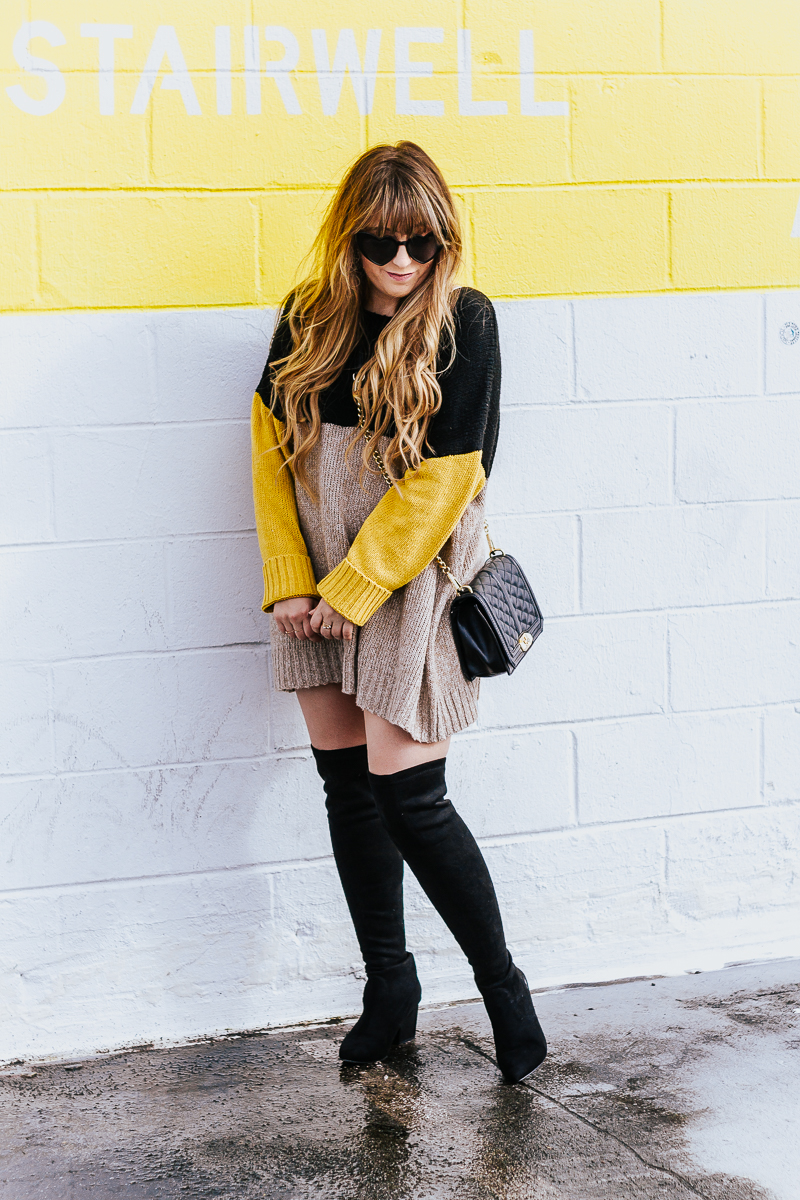 Colorblock sweaterdress + over the knee boots-10