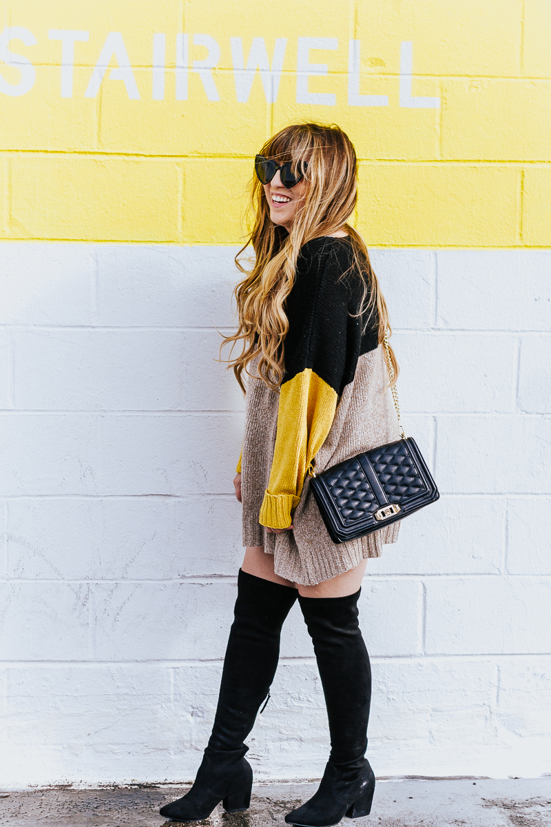 Colorblock sweaterdress + over the knee boots-11