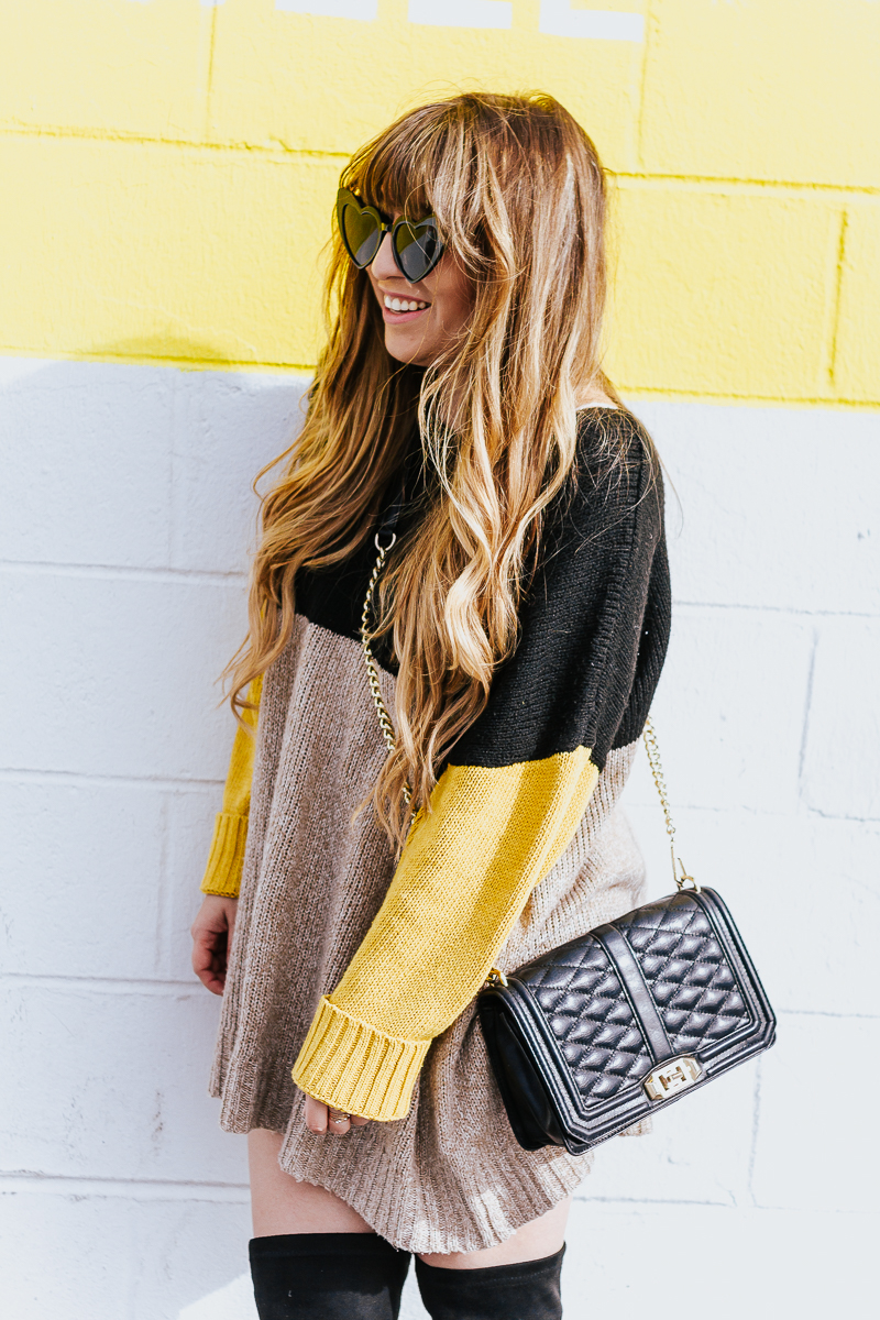 Colorblock sweaterdress + over the knee boots-12