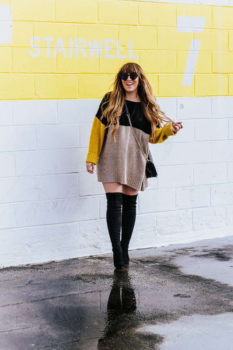 Colorblock sweaterdress + over the knee boots-6