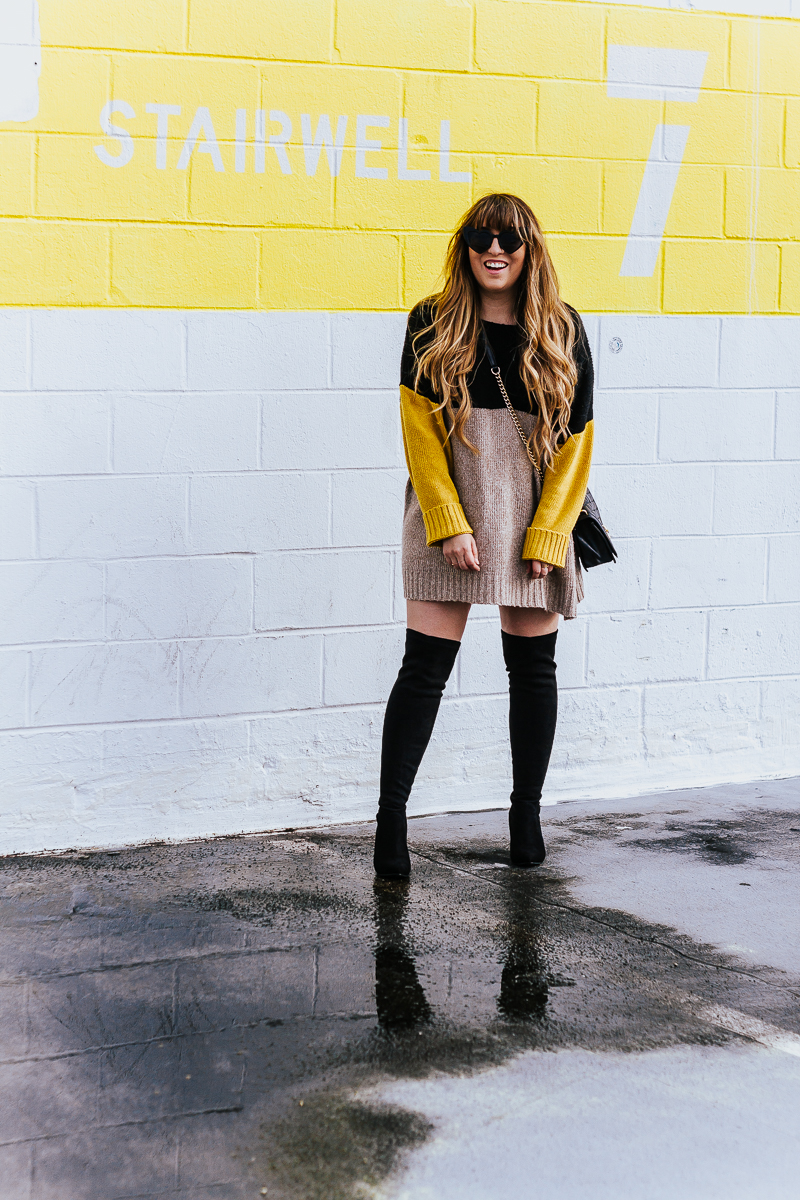 Colorblock sweaterdress + over the knee boots-8