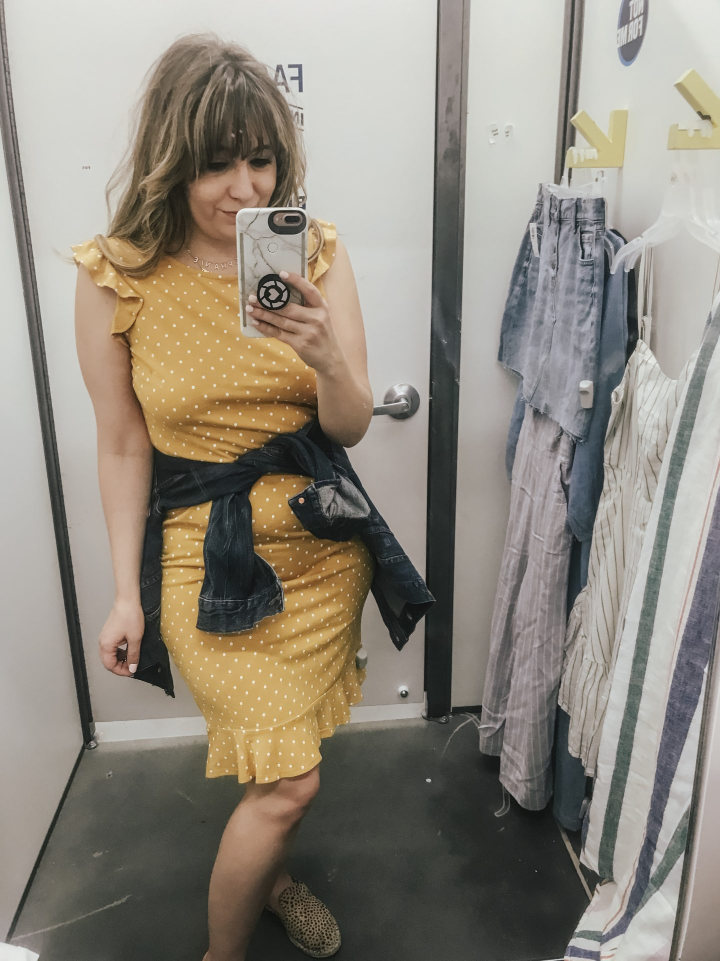 Old Navy yellow polka dot dress