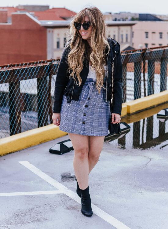 Plaid skirt + leather jacket-12