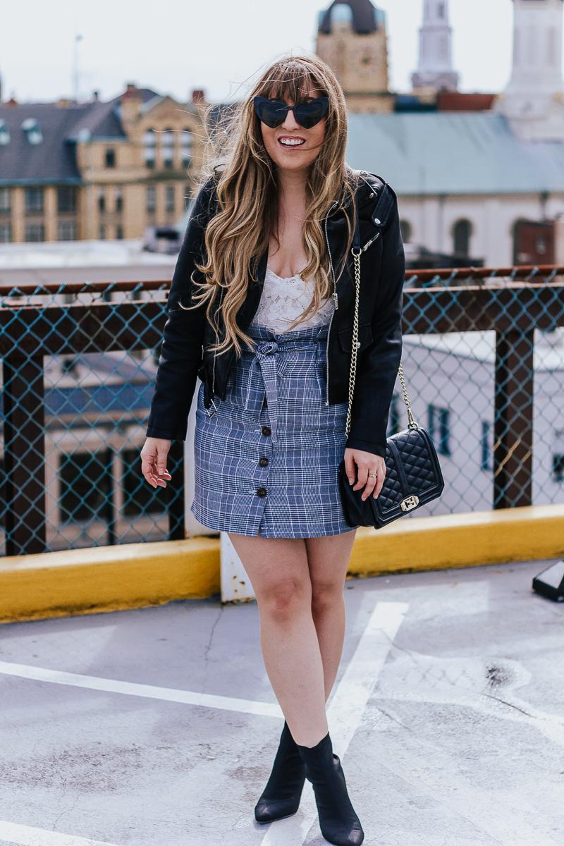 Plaid skirt + leather jacket-13