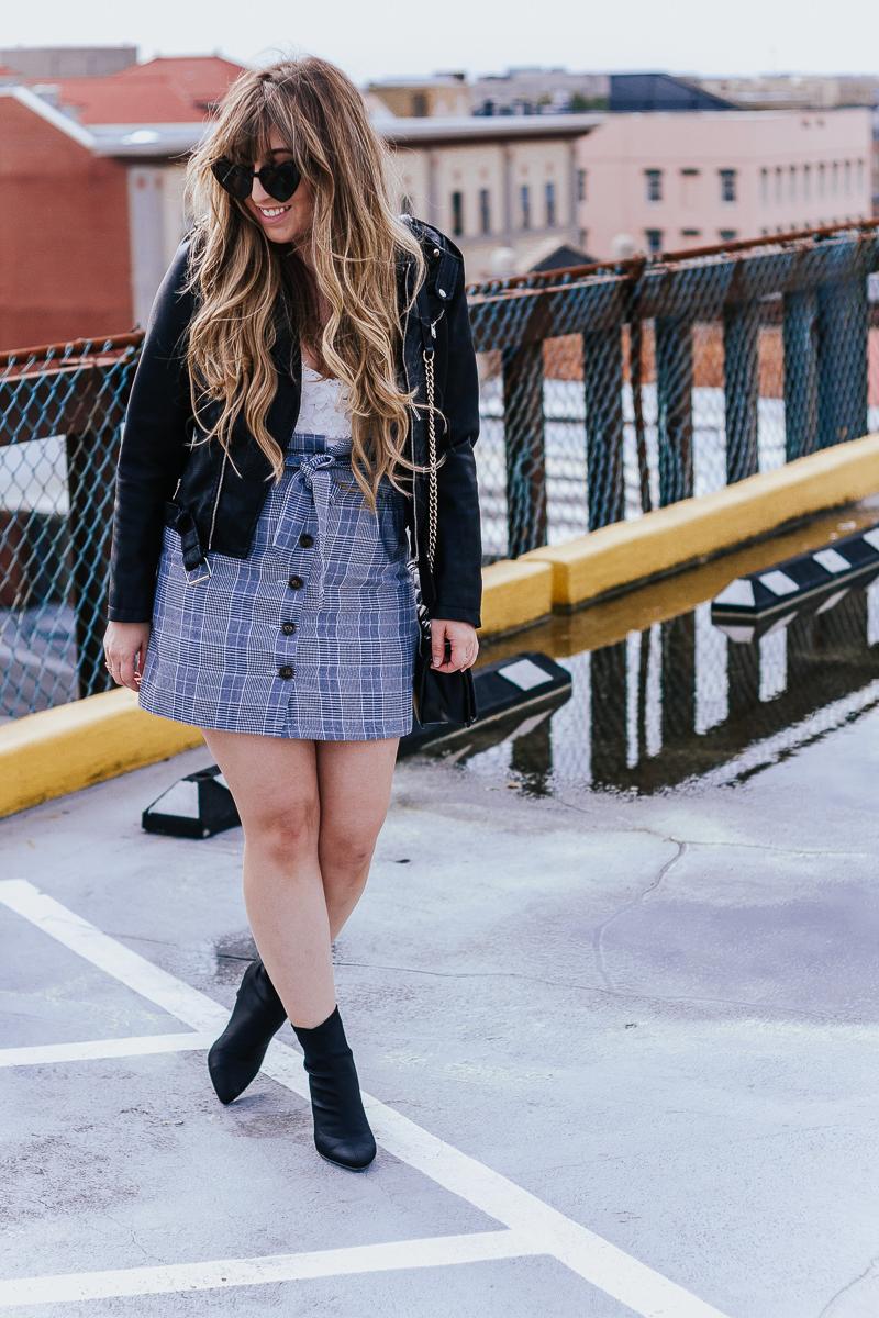 Plaid skirt + leather jacket-14