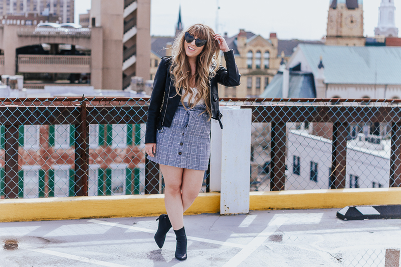 Plaid skirt + leather jacket-6