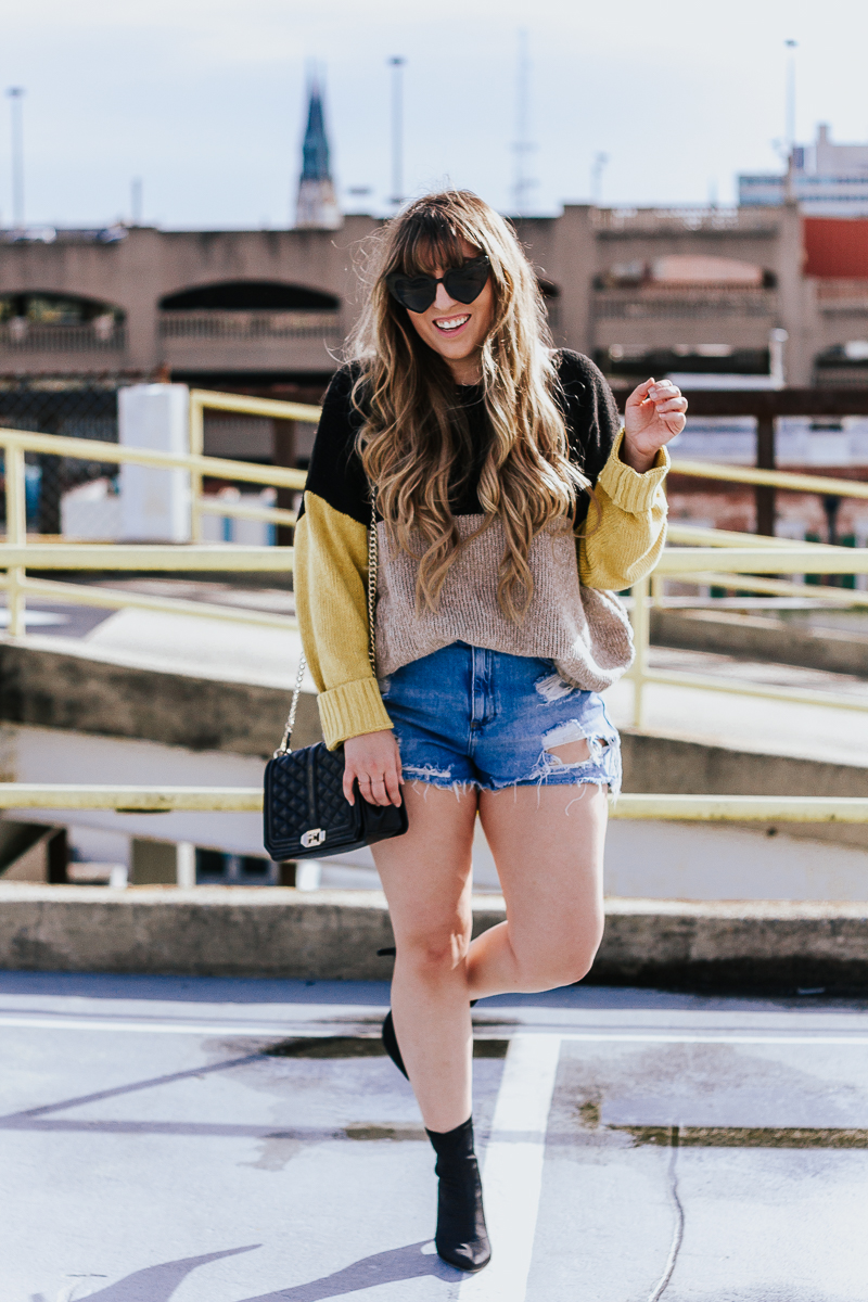 Spring Outfit Idea- jean shorts + sweaters-11