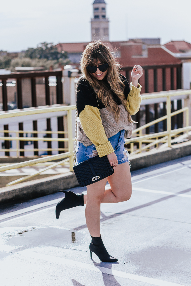Spring Outfit Idea- jean shorts + sweaters-12