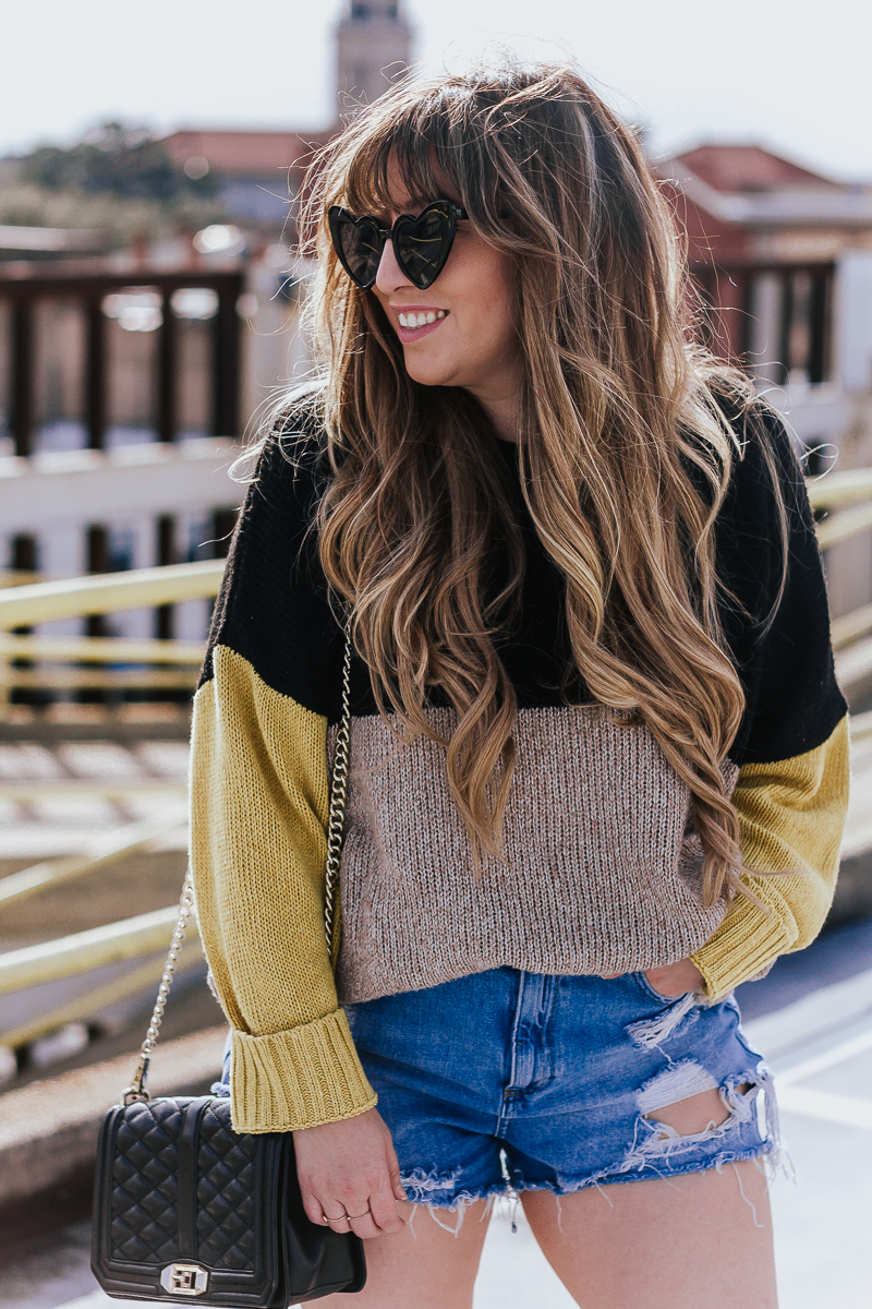 Spring Outfit Idea- jean shorts + sweaters-13