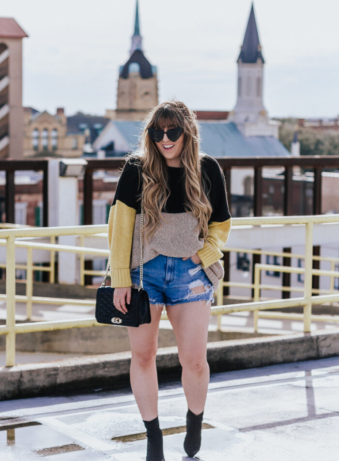 Spring Outfit Idea- jean shorts + sweaters-3