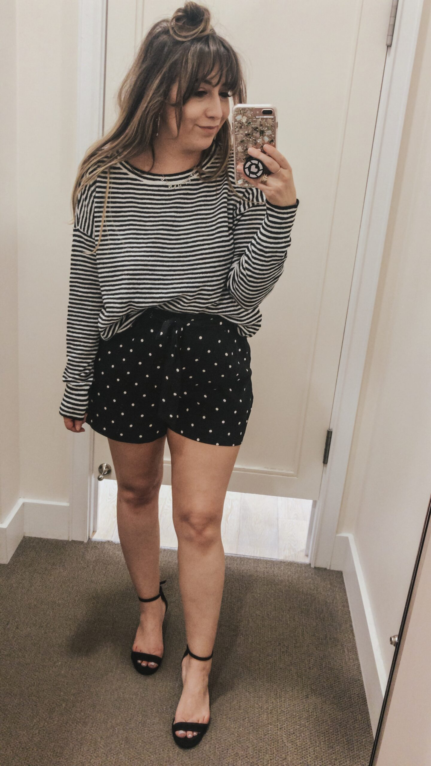 LOFT Spring - striped sweater and polka dot shorts