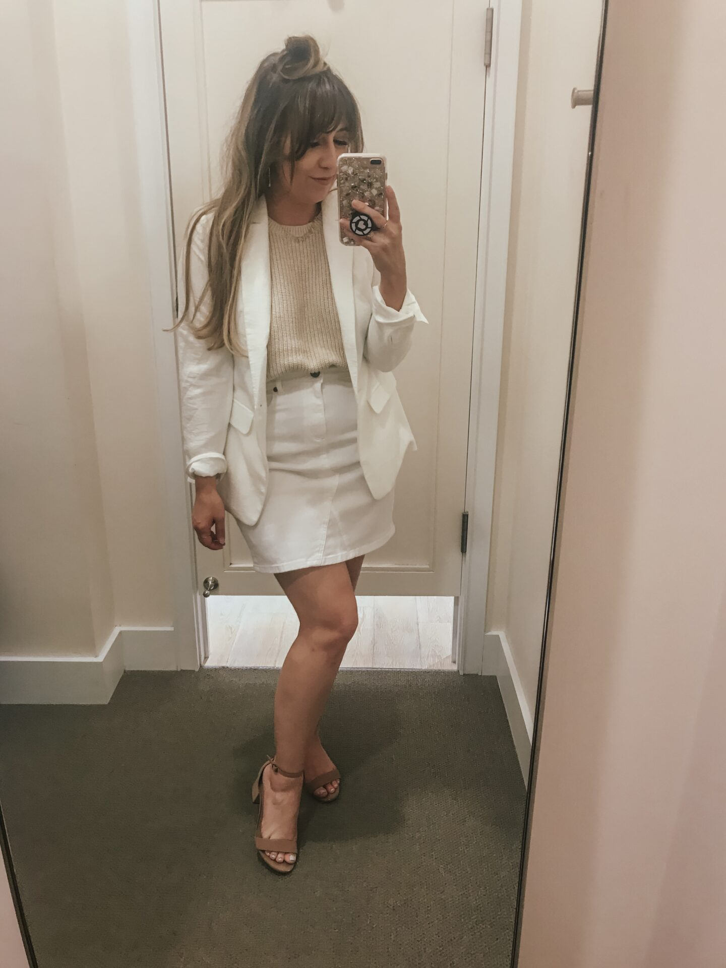 LOFT Spring - white denim skirt and blazer outfit