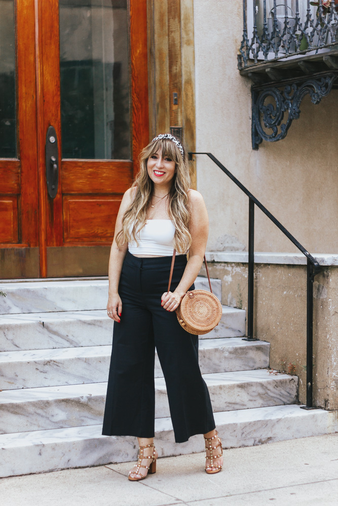 2 ways to style black wide leg crop pants – summer outfit ideas - wide leg crops - wideleg crops - wideleg pants  - crop top and wide leg crop pants - crop top outfit idea - crop top outfits