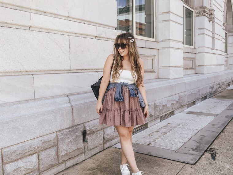 white crop top and pink tiered skirt outfit