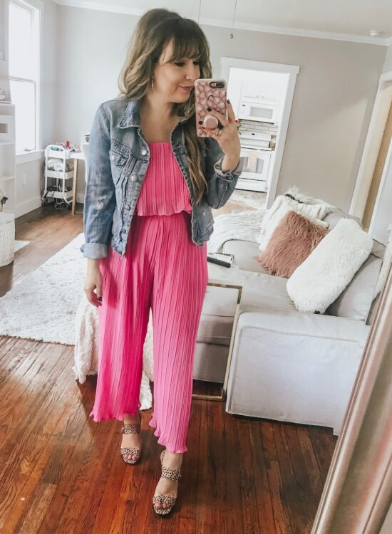 daily outfit: pink jumpsuit and jean jacket