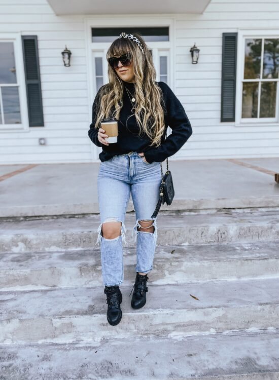 Daily Outfit – cozy turtleneck and mom jeans