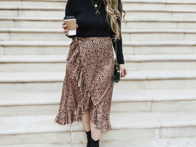 Daily outfit – leopard midi skirt and turtleneck
