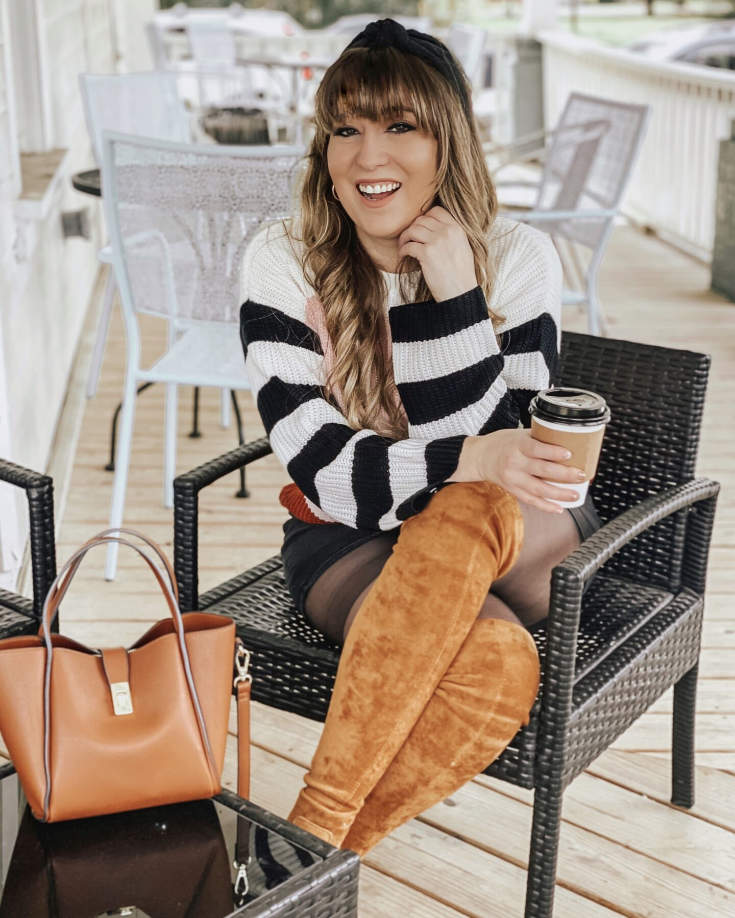 Fall outfit idea - Striped sweater and over the knee boots