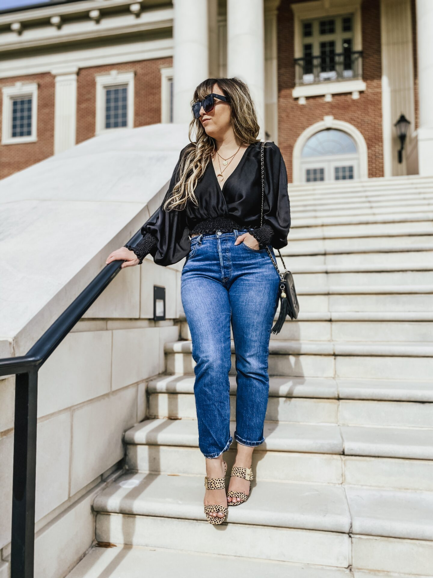 daily outfit - silky top and jeans