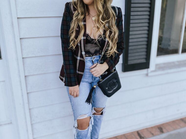 Daily Outfit - lace bodysuit and plaid blazer outfit