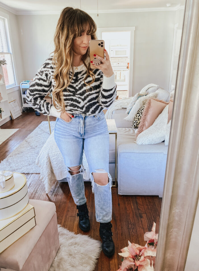 Daily Outfits - soft zebra sweater and mom jeans outfit