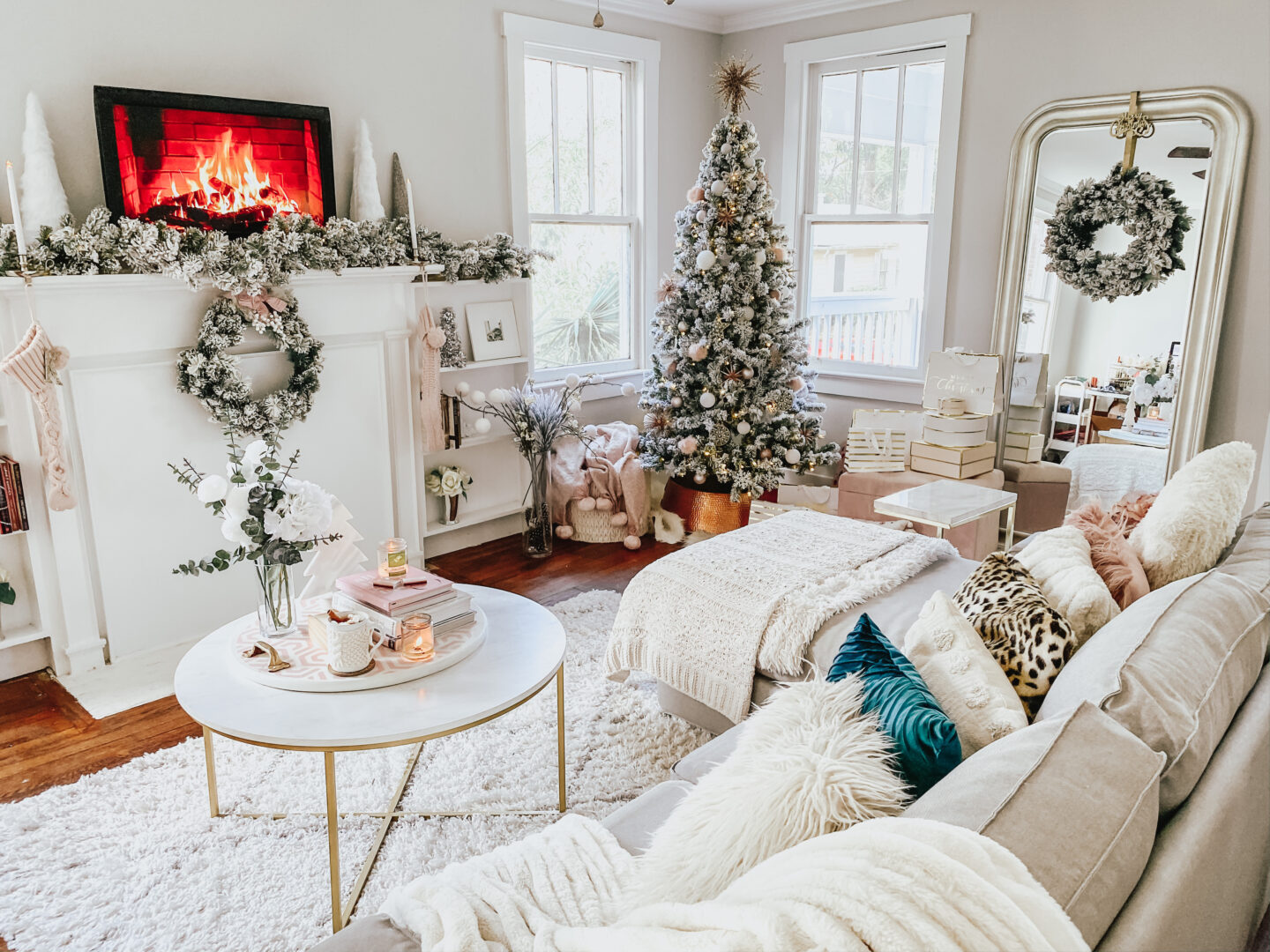 blush holiday decor