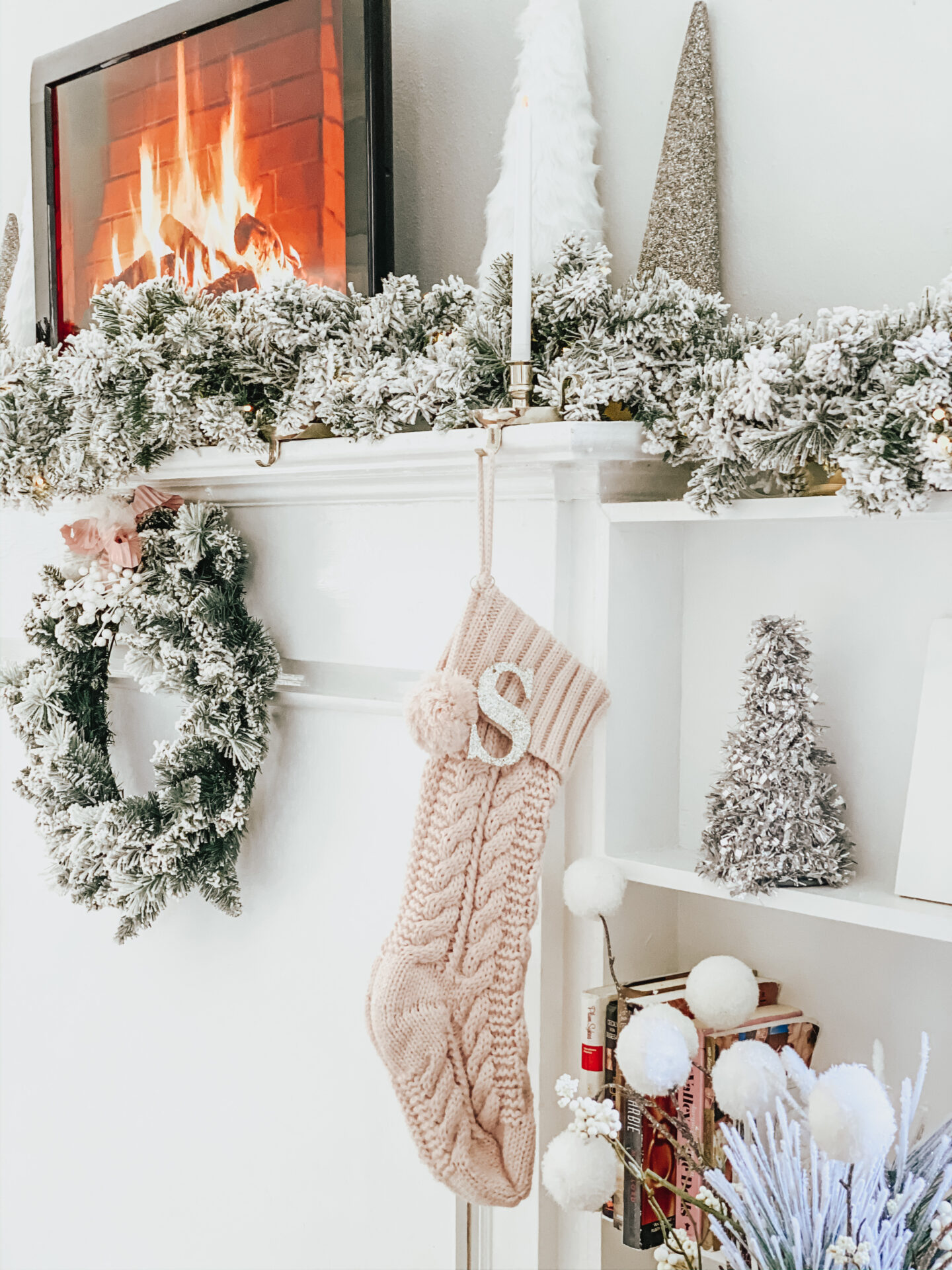 blush stocking and mantle