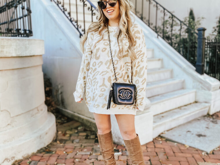 Leopard Sweaterdress and knee high slouchy boots