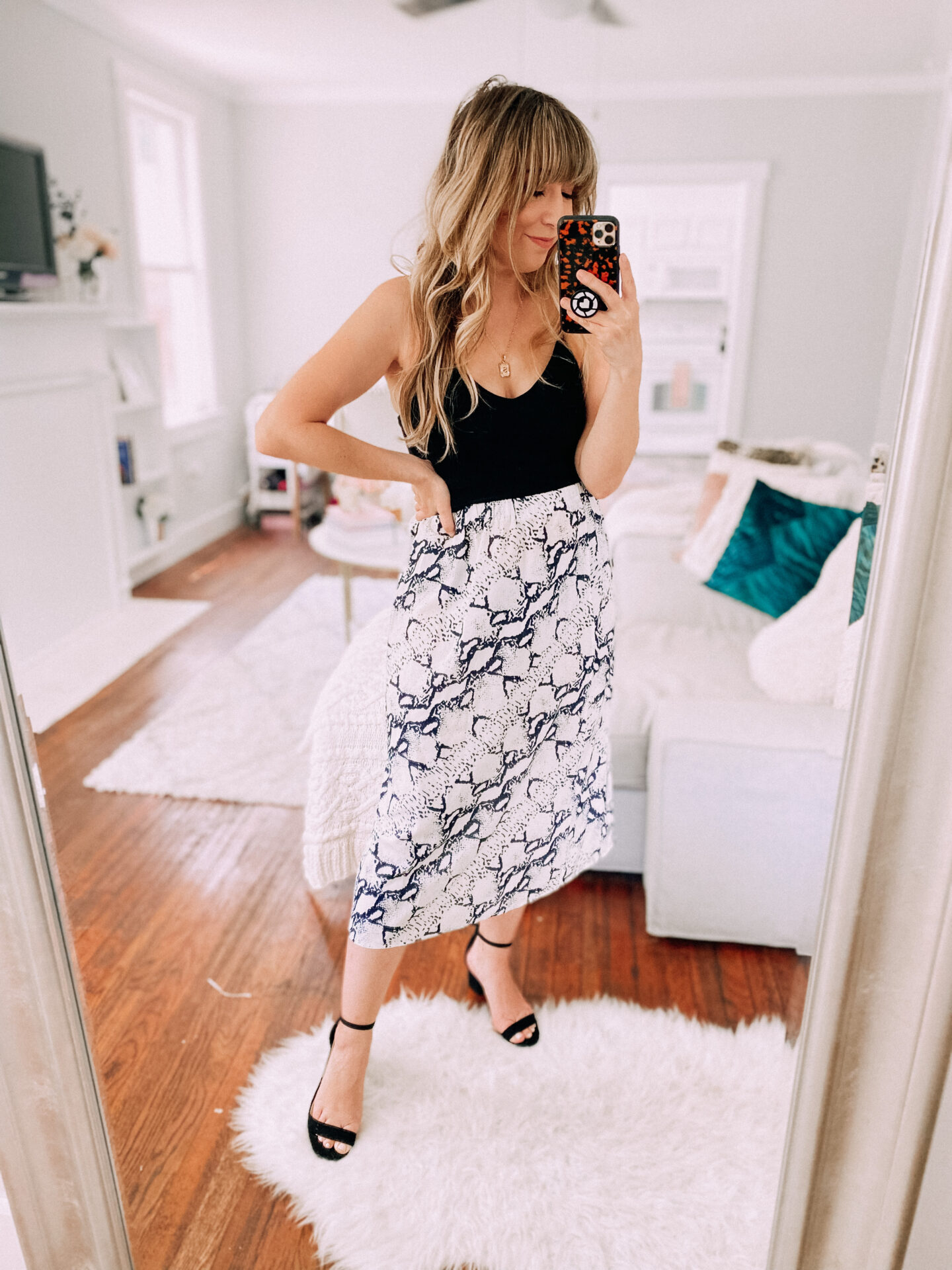 Amazon summer fashion haul - crop top and snake print midi skirt