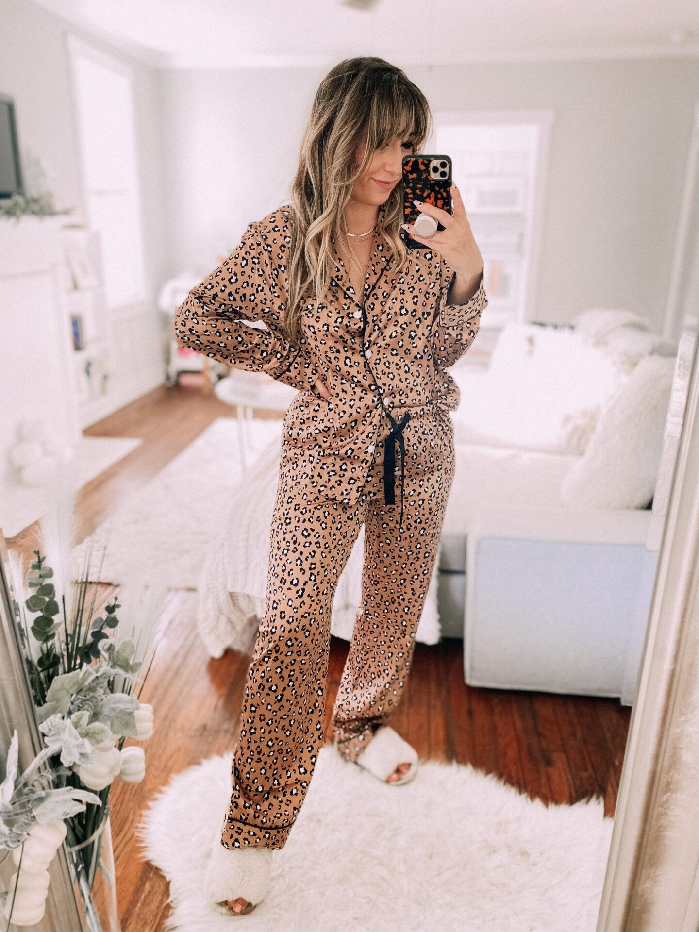 Leopard silk pajamas from Amazon