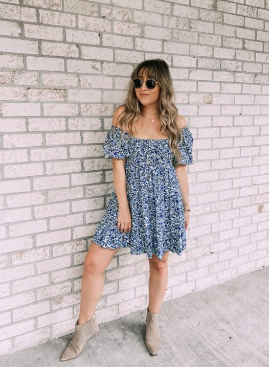 floral dress and booties outfit fall transitional style