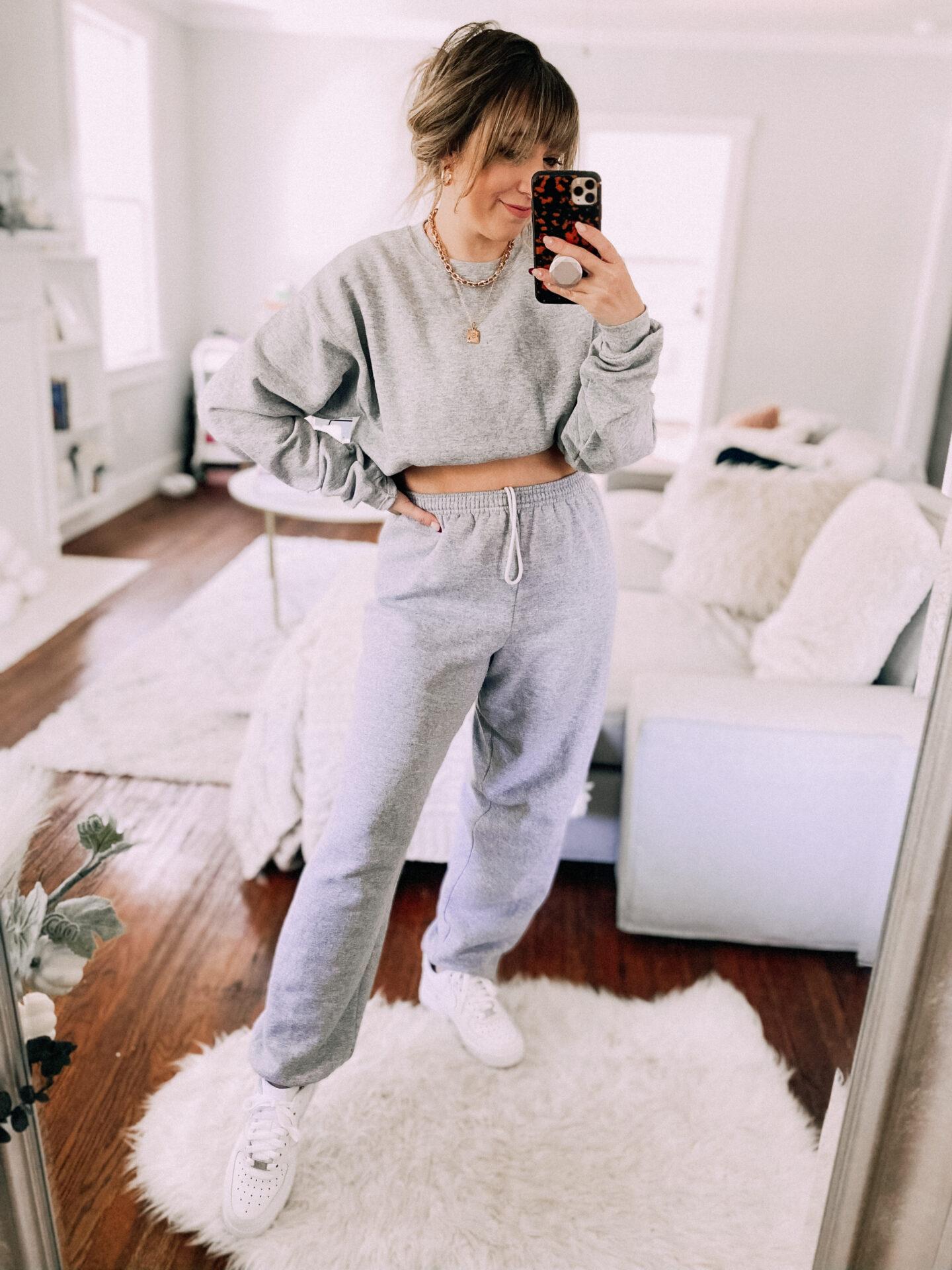 Gray sweatsuit from Amazon