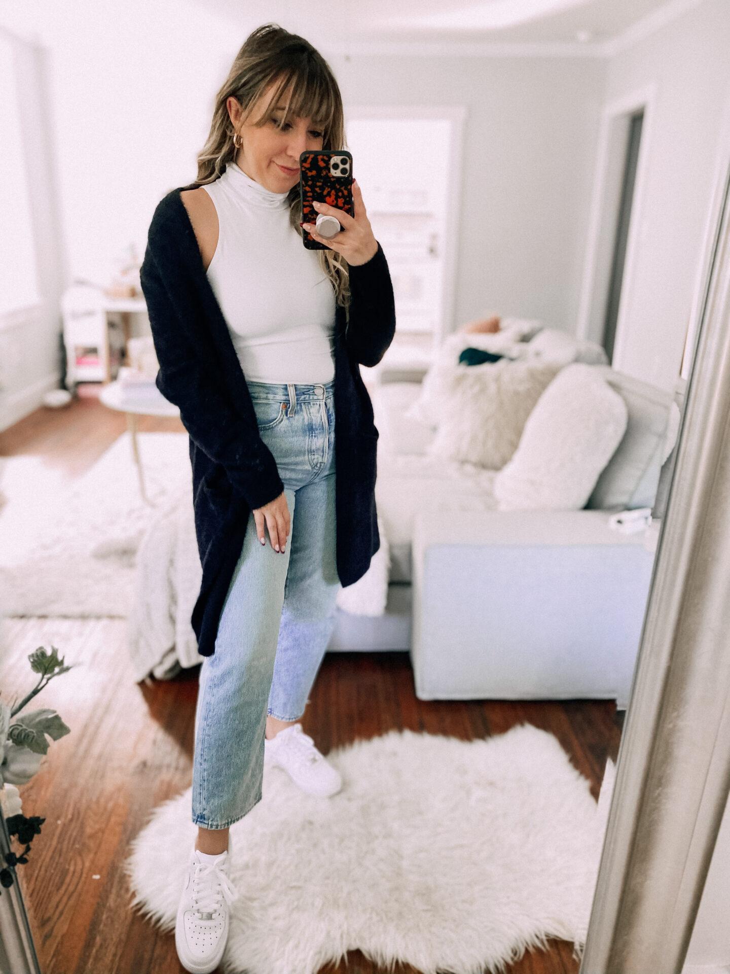 Turtleneck bodysuit and jeans