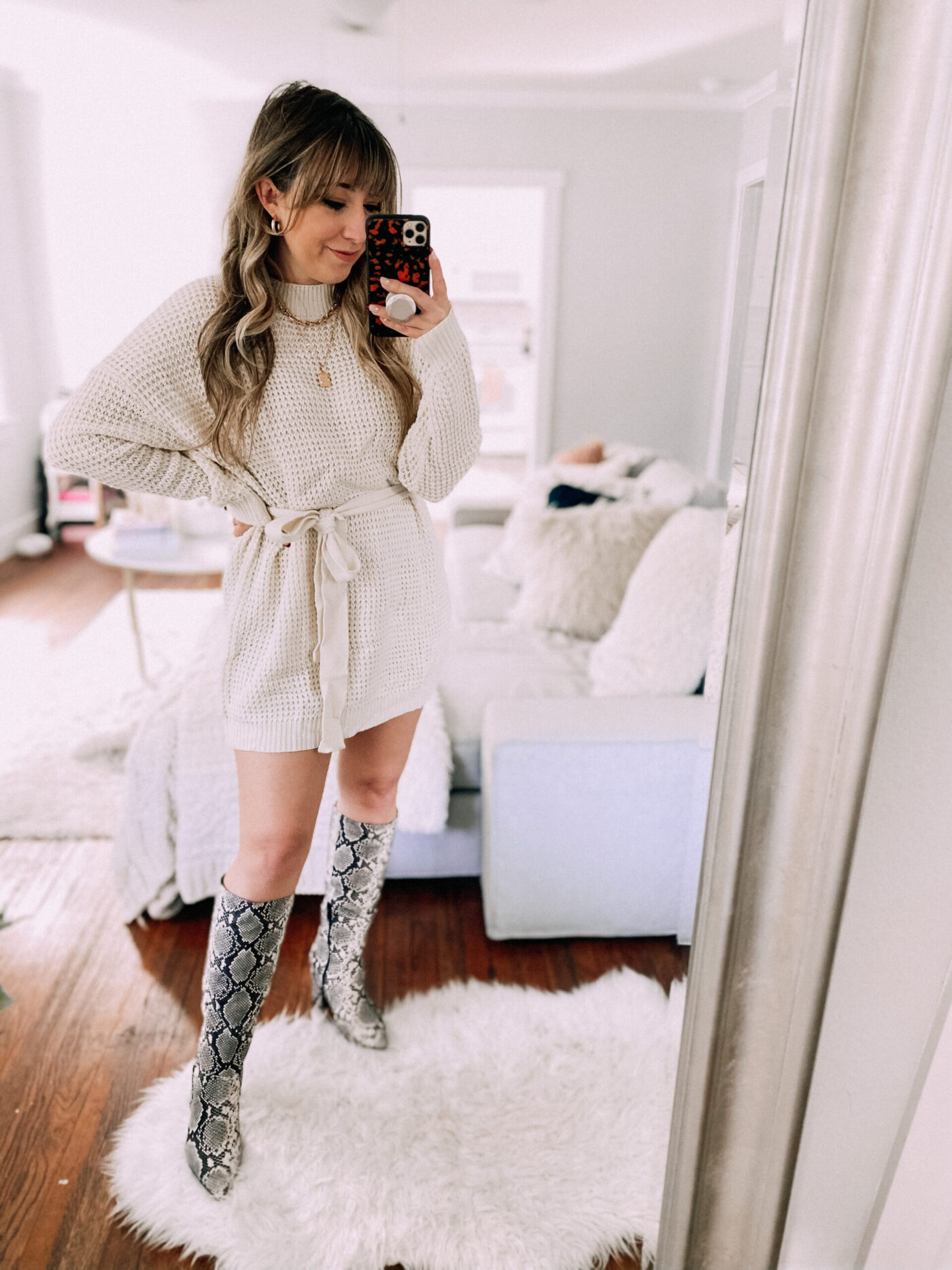 Amazon sweaterdress for fall, sweaterdress and snakeskin boot outfit