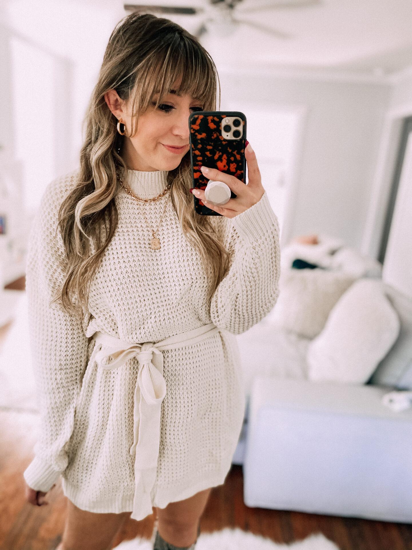 waffleknit sweaterdress from amazon