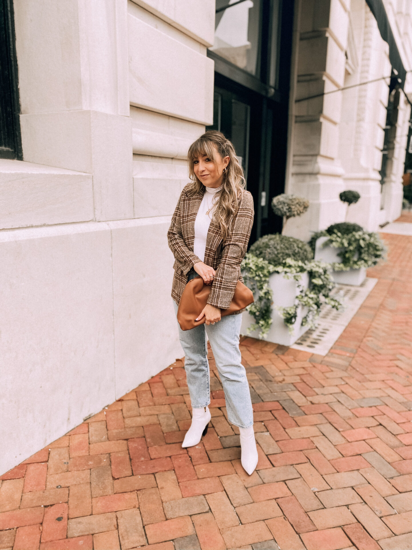 turtleneck bodysuit and plaid blazer for fall