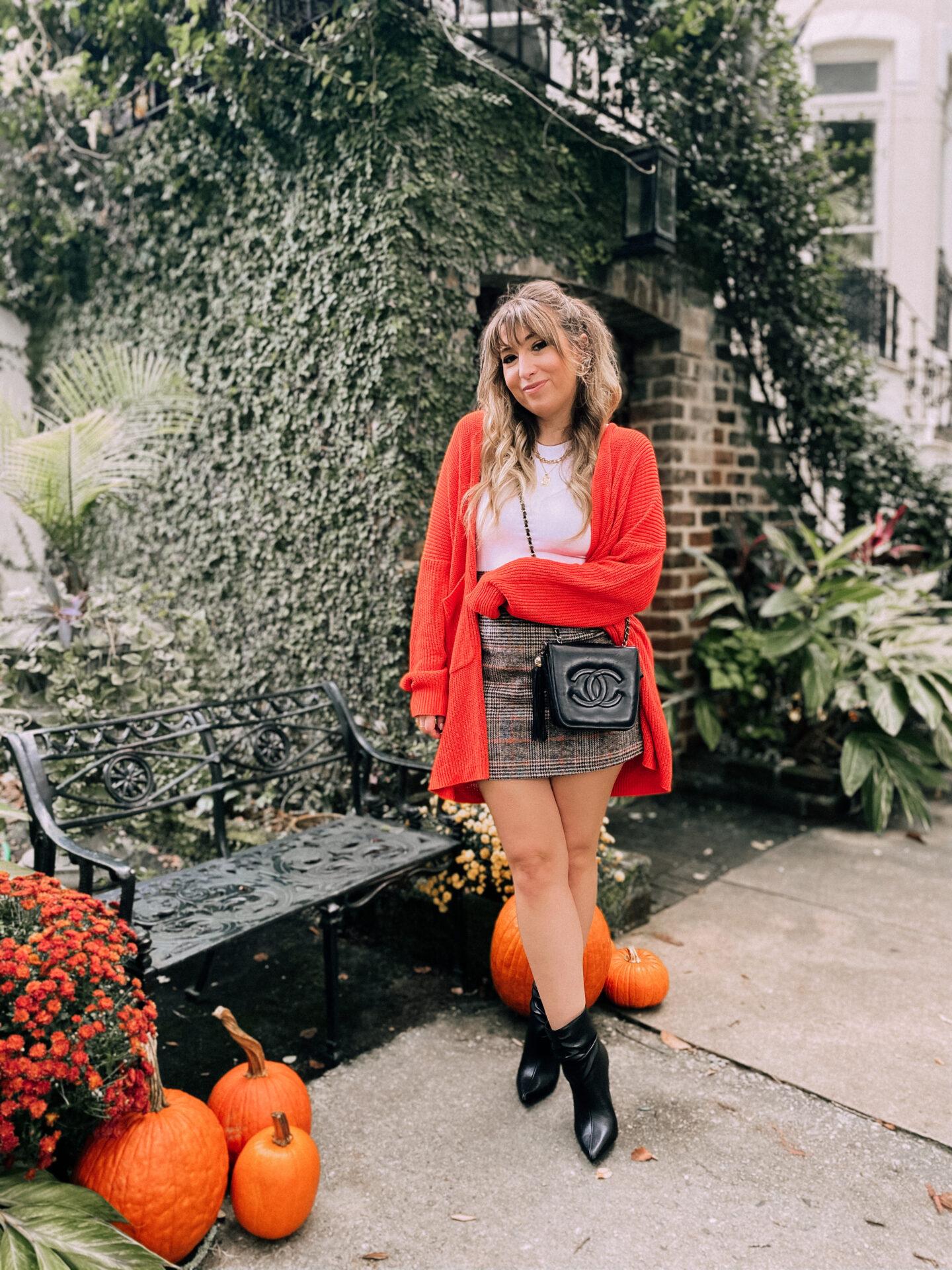 Cardigan, plaid skirt and booties