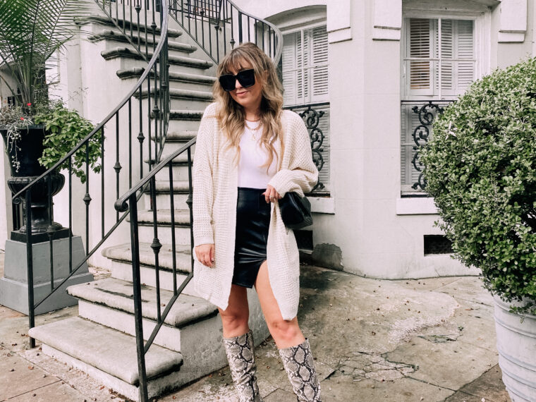 Cozy cardigan, bodysuit, leather skirt and snakeskin boots outfit for fall