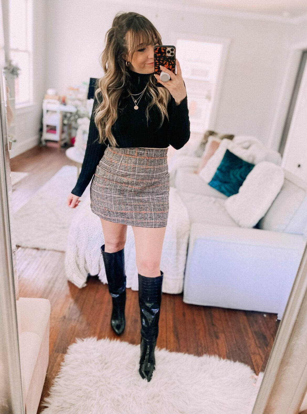 Amazon plaid skirt outfit idea