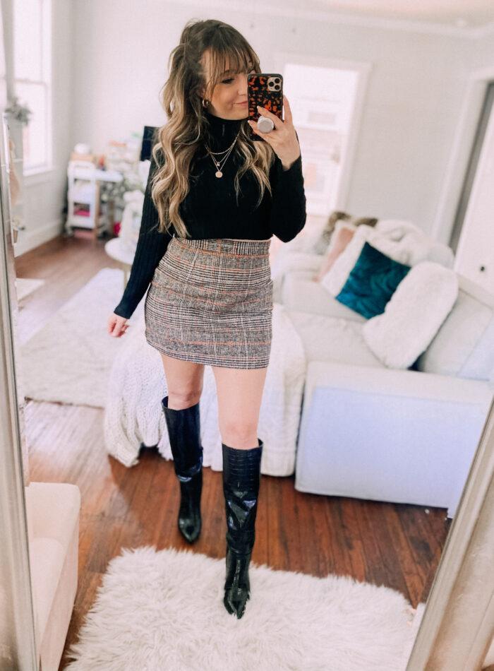 Amazon plaid skirt outfit idea