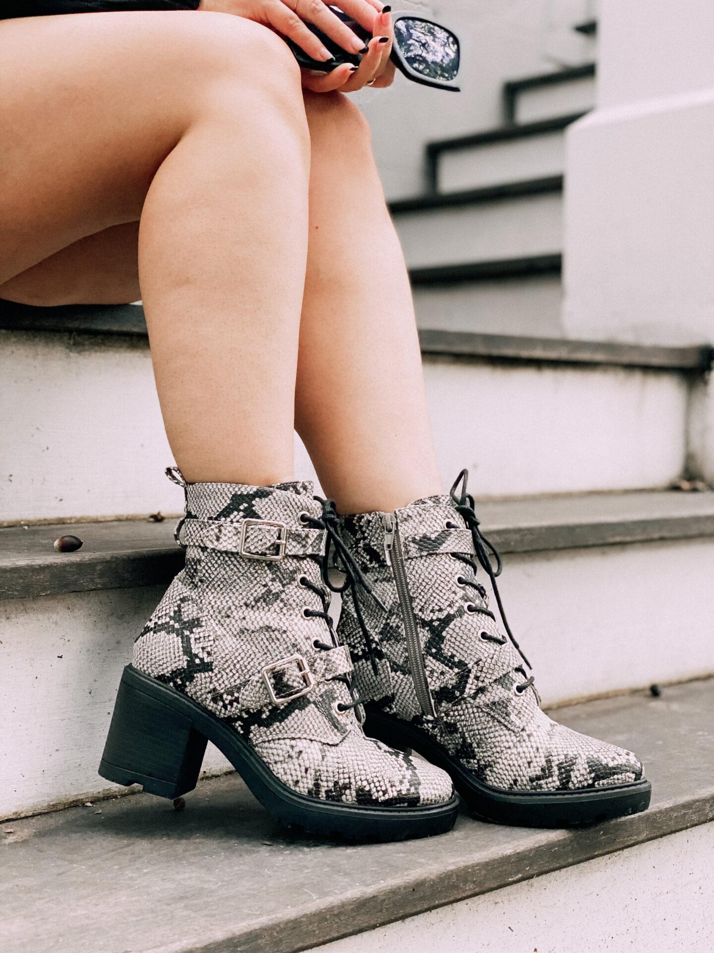 JustFab snakeskin leopard combat boots – fall boots
